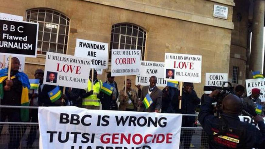Genocide survivors stage a protest outside BBC headquarters in London, in response to the revisionist film, about two weeks ago. (Courtesy)
