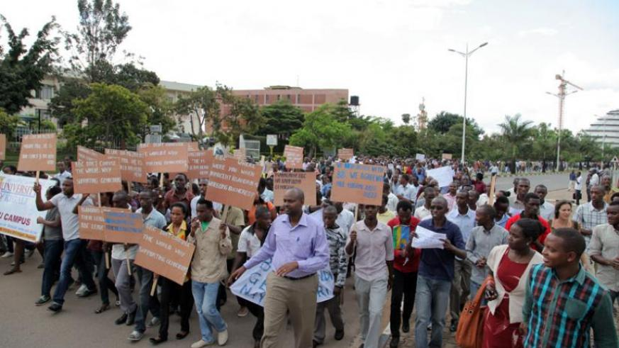 Youth march to Parliament in demonstration against the BBC documentary. (John Mbanda)