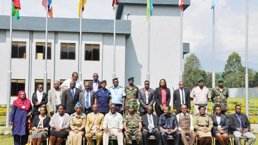 Some of the participants and officials in group photo at Rwanda Peace Academy.