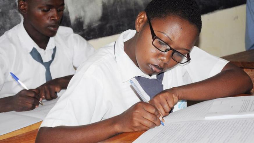 A-Level candidates sit the national exams in Kamonyi District last year. (File)