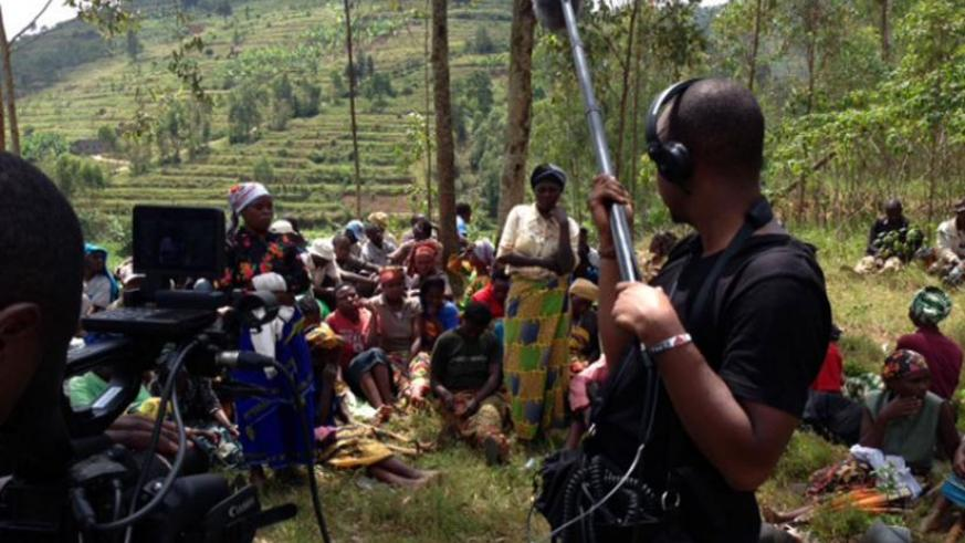Cameras roll during the shooting of the Abunzi documentary.(Courtesy)