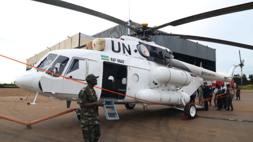One of the helicopters to be deployed to South Sudan. J Mbanda