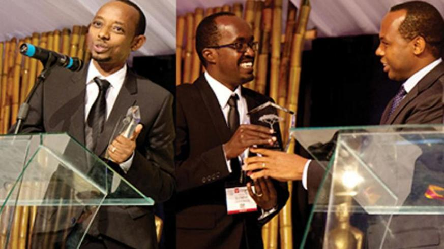 Mugabo (L) gives his acceptance speech, while right, Uwajeneza receives his award. (Timothy Kisambira)