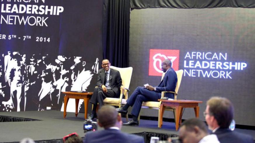 President Kagame and moderator Acha Leke during African Leadership Network interactive discussion in Kigali yesterday. (Village Urugwiro)