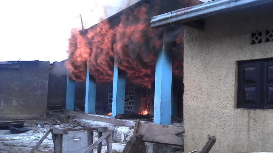 A fire razed this commercial building in Musanze District,  leaving property worth of hundreds of thousands of francs destroyed. Jean d'Amour Mbonyinshuti