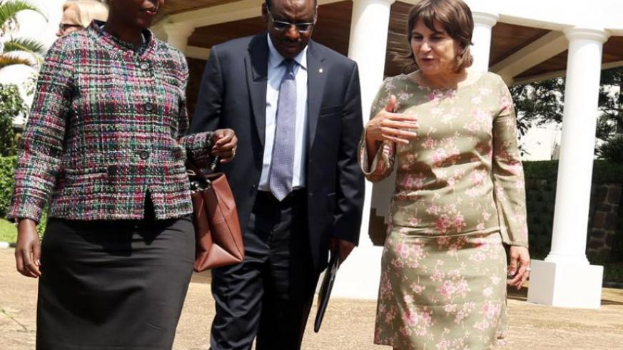 Dutch minister Ploumen (right) with ministers Mushikiwabo (left) and Gatete after the meeting with President Kagame at Village Urugwiro yesterday. (John Mbanda)