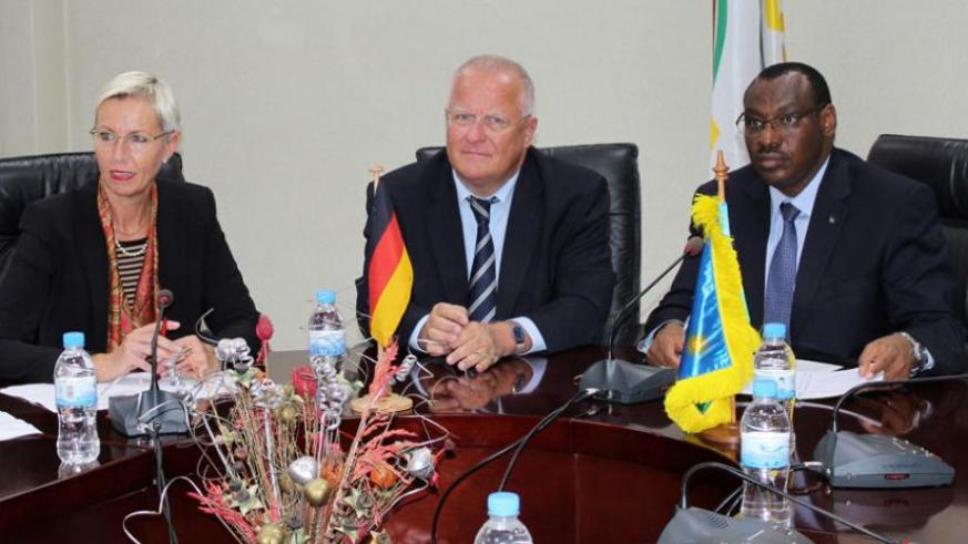 L-R; Head of the German delegation, Gudrun Grosse Wiesmann, German Ambassador to Rwanda Peter Fahrenholtz, and  Finance minister Amb. Claver Gatete at the meeting yesterday. (Courtesy)