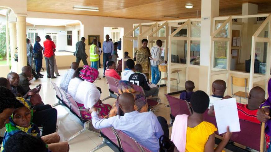 Patients at Kacyiru Police Hospital wait for service recently.(File)
