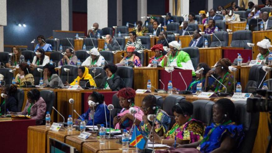 Women parliamentarians during the meeting at Parlaiment  yesterday. (Timothy Kisambira)