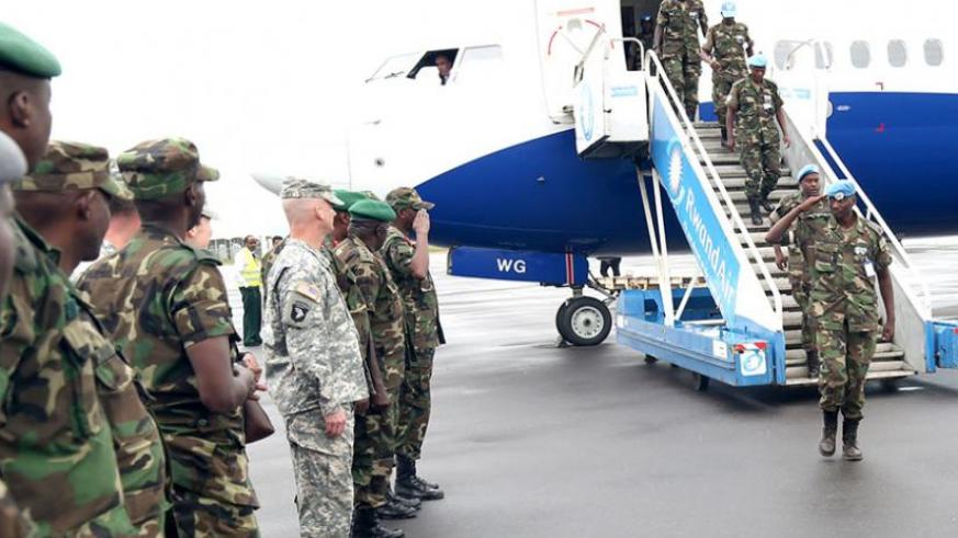 RDF soldiers returning from South Sudan in the just concluded rotation exercise. (Courtesy)