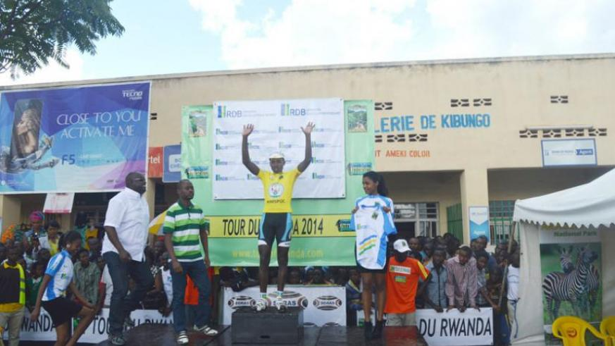 Janvier Hadi donning the yellow jersey which he will be wearing in stage 3 this morning.