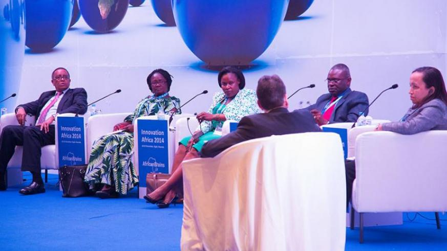L-R: Education ministers Prof. Lwakabamba, Prof. Naana J. Opoku of  Ghana, & Jessica Alupo of Uganda; Minister of Civic Education & Youth of Republic of Congo, Anatole Makosso; & Angolan Secretary of State, Innovation in Higher Education, Maria da Silva Martins at the meeting in Kigali yesterday. The panel was moderated by HP regional VP Marketing, Jean-Pierre Le Calvez (back to camera). (T. Kisambira)