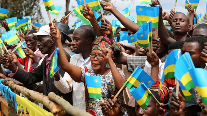 Residents of Kirehe district welcome President Kagame last week during his tour to the Eastern Province. (Courtesy)