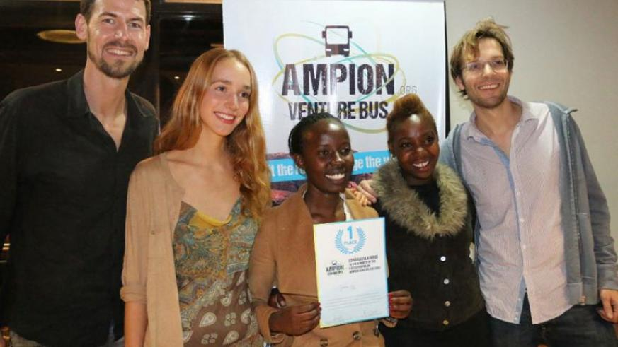 The winning team (Jambo car) pose for a picture after receiving a certificate on Wednesday. (Courtesy)