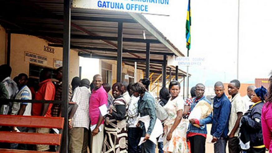 Queues of people form at the Immigration and Emmigration Directorate during specific hours. (File)