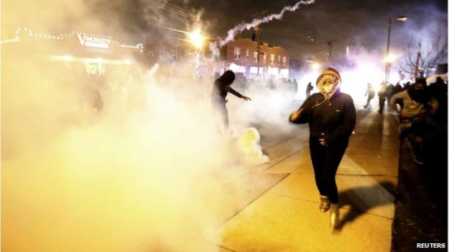 Police responded to violence with smoke, pepper spray and tear gas. Agencies