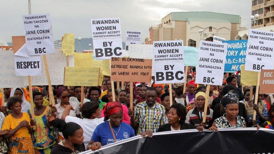 Rwandans demonstrate against the BBC on October 24. (File)