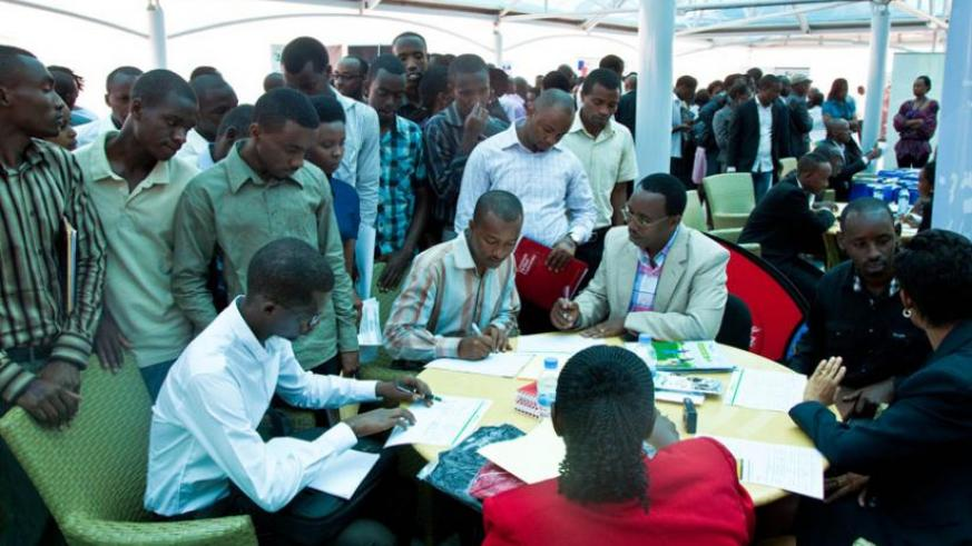 Graduates seek job opportunities during a Job Day event on January last year. (File)