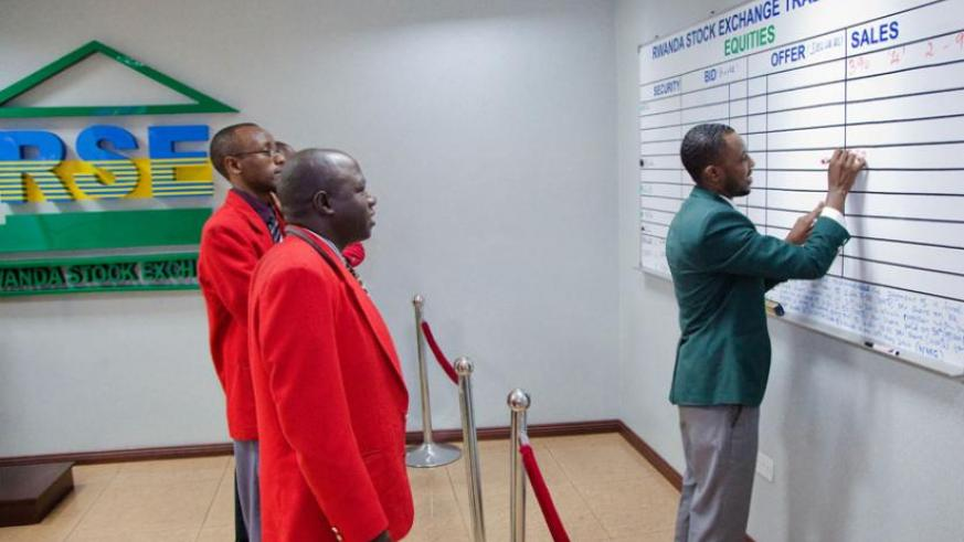 Blockers trade at Rwanda stock market on May 8. (Timothy Kisambira)
