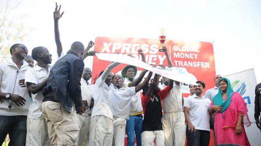 Right Guards players in jubilations after winning the UAE Exchange and Xpress money 50-overs premier league. (Pontian Kabeera)