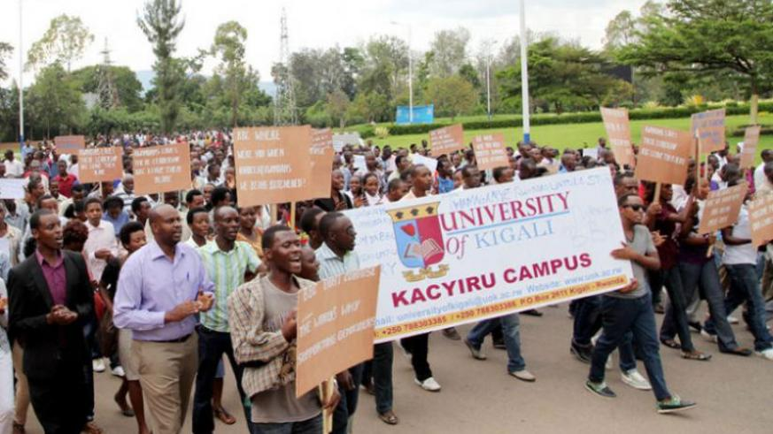 Anti-BBC demonstrators march to Parliament Buildings in Kigali where they presented their grievances. (File)