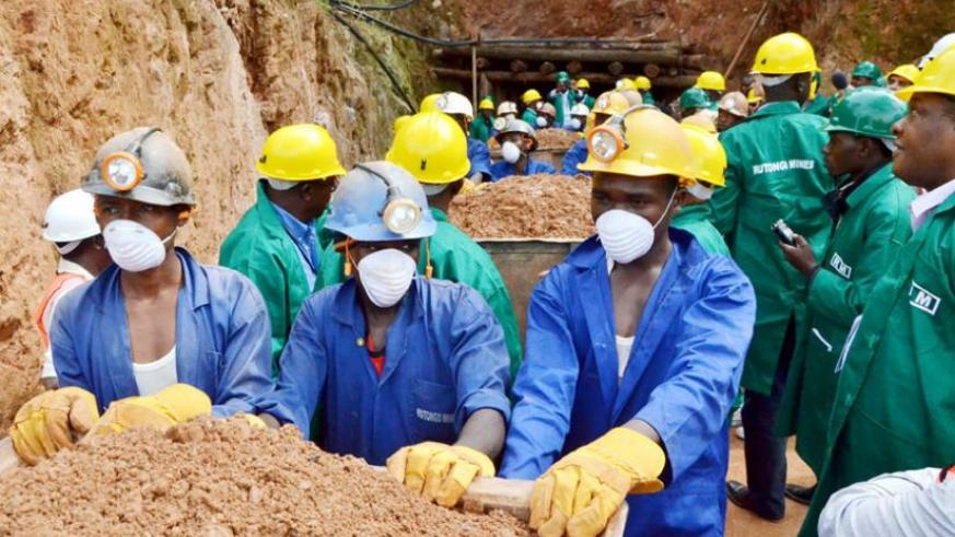 Miners on duty  at Rutongo Mines in Rulindo District.(Timothy Kisambira)