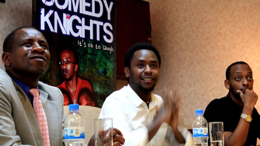 The General Manager of Nation Holdings Rwanda Phillip Velese (L), together with Comedy Knights' Jerome Uwonkunda Ndamage and Michael Senganzi in a press conference. (Tracy Bucyana)