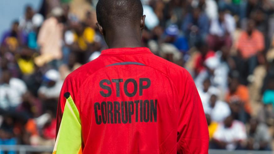 Match officials will don jerseys with the words 'STOP CORRUPTION' in matches during league matches. (Timothy Kisambira)