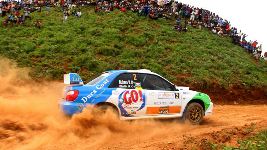 Valerie Bukera makes a turn during the super stage yesterday. The Burundian holds a 13 point lead. (Photo/Unity Rally team.)