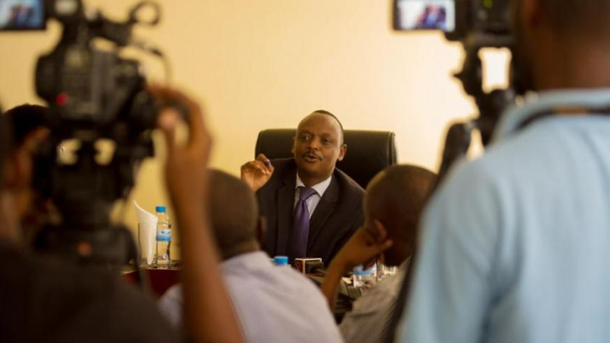 Prosecutor General Richard Muhumuza addressing the media yesterday. (Timothy Kisambira)
