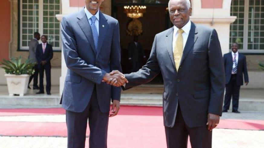 Presidents Kagame and dos Santos pose after holding talks at the Presidential Palace in Luanda, Angola yesterday. (Courtesy)