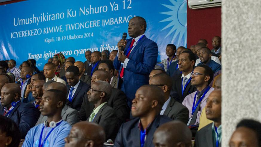 A participant speaks at the 12th Umushyikirano at Parliament yesterday. (File)