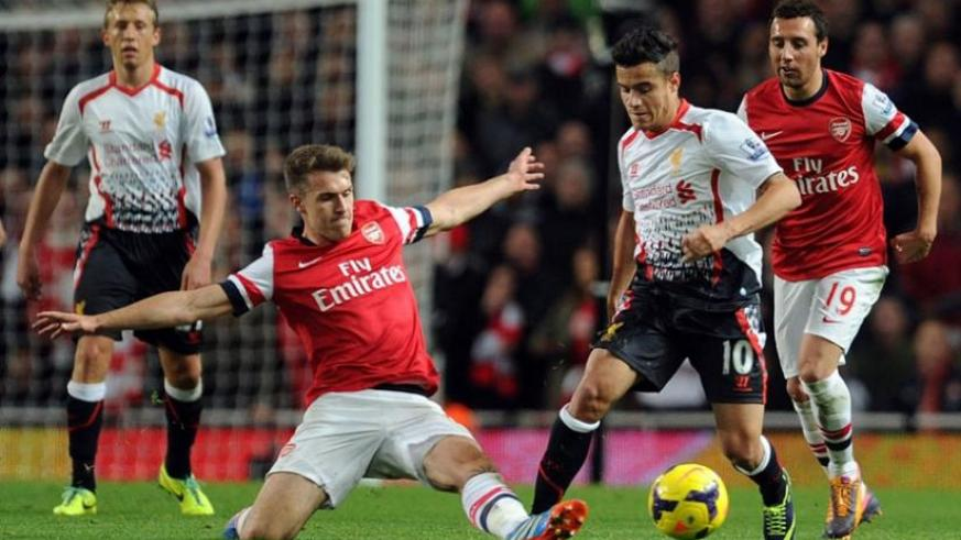 Phillipe Coutinho weaves his way past Arsenal's Aaron Ramsey in the 5-1 win at Emirates that is now a distant memory. (Net photo)
