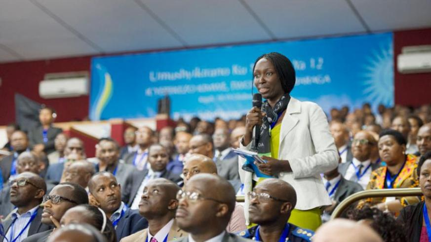 A participant asks a question during the 12th Umushyikirano yesterday. Village Urugwiro.