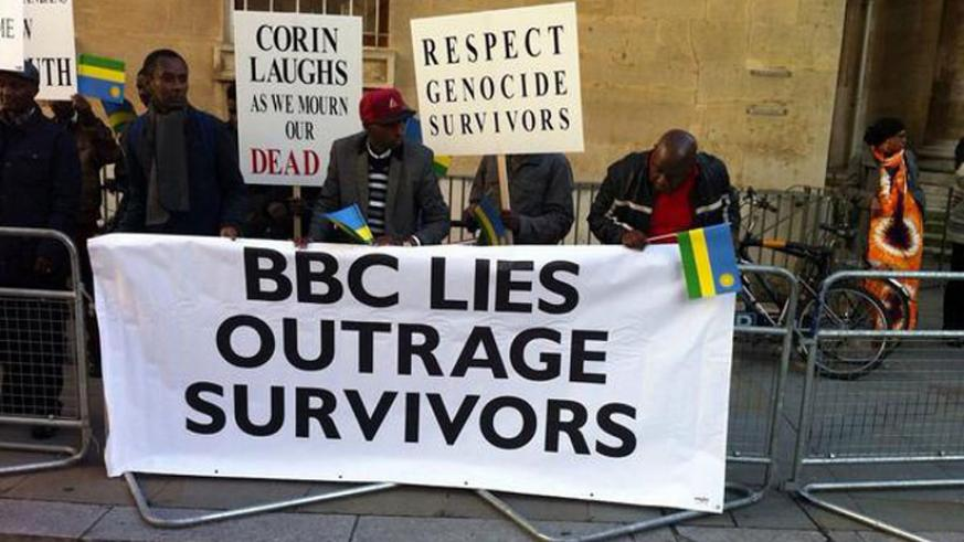 Genocide survivors, Rwandans and friends protest against the BBC film at BBC headquarters in London. (Courtesy)