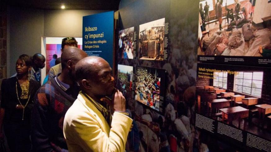 Some of the visiting Congolese youth inside Kigali Genocide Memorial Centre in Gisozi yesterday. (Timothy Kisambira)