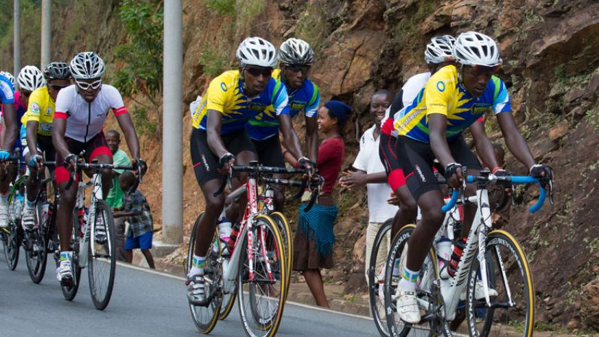 Team Rwanda riders lead the way during the Tour du Rwanda last year. The cyclists have altered their training preparations to suit the routes in Egypt. (Timothy Kisambira)