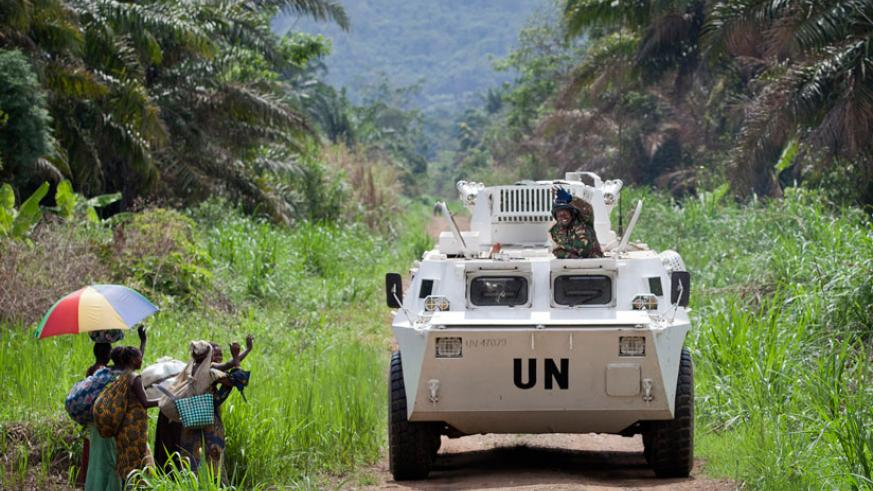 A UN armoured vehicle patrols Beni in the Democratic Republic of Congo last year in March.  (Net photo)