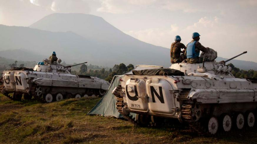 UN soldiers on patrol in DR Congo but FDLR continue to cause instability. (Internet photo)