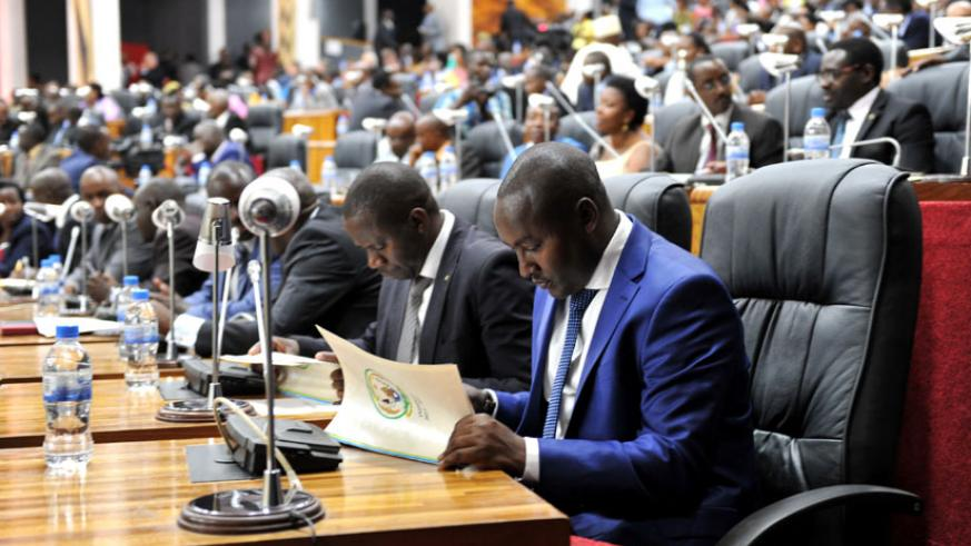 Former mayor of Gasabo District  Willy Ndizeye, signs Imihigo at Parliament last year. (File)