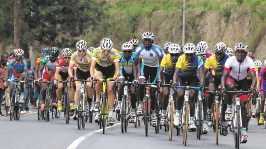 Team Rwanda riders lead the way during last year's Tour du Rwanda. The team returned home from Egypt yesterday. (File)