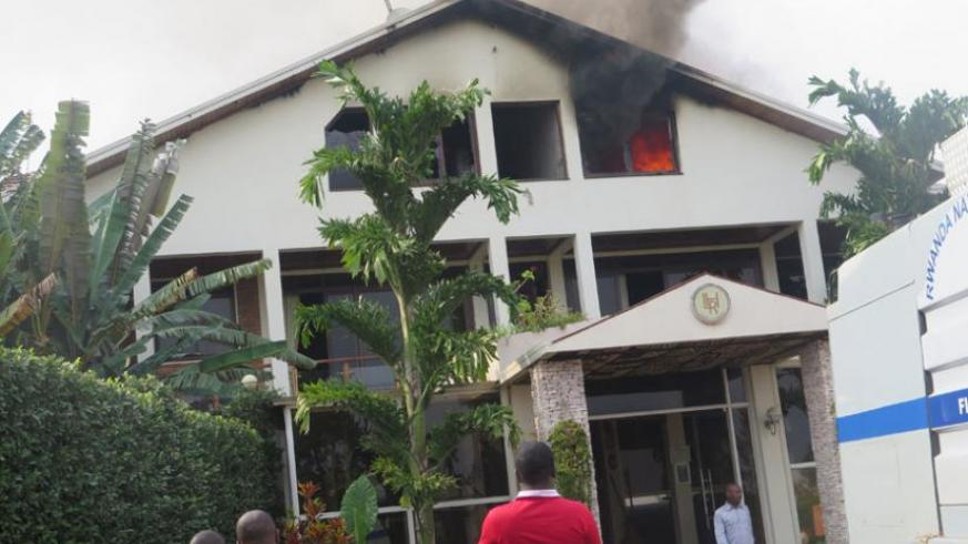 Part of Luxury Hotel was destroyed by fire yesterday.(Frederic Byumvuhore)