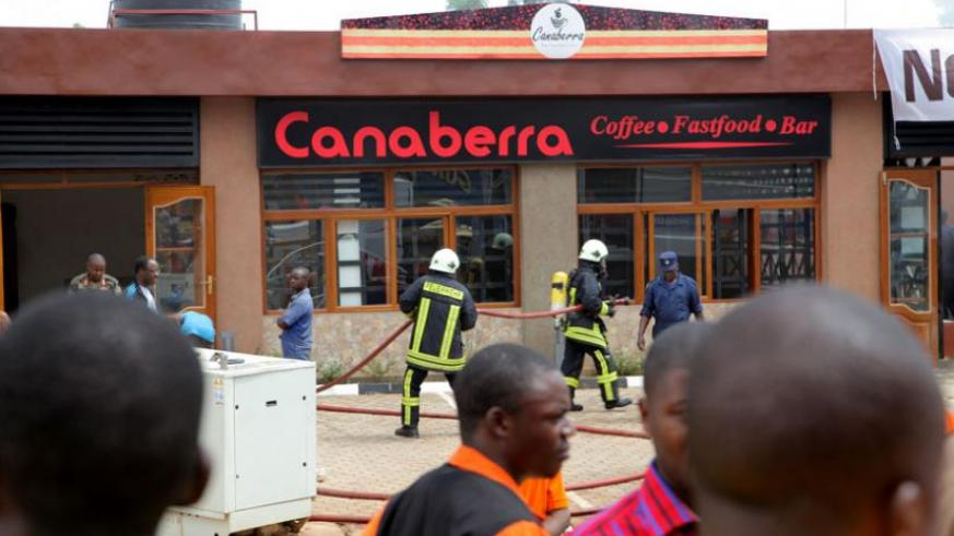Police try to contain a fire at Canaberra restaurant in Remera in October last year.  (John Mbanda)