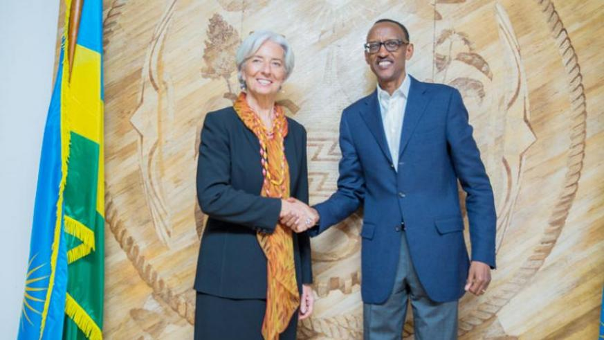President Paul Kagame with IMF Managing Director Christine Lagarde at Village Urugwiro last evening. The IMF chief paid a courtesy call on the President shortly after delivering a public lecture at Parliament. (Village Urugwiro)