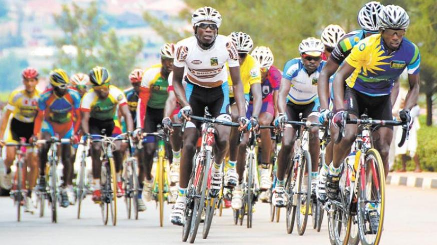 Team Rwanda's senior rider Nathan Byukusenge (R) leads a peloton during last year's Tour du Rwanda. Rwanda has jumped from fifth to second in the latest UCI Africa ranking released on Tuesday. (T. Kisambira)