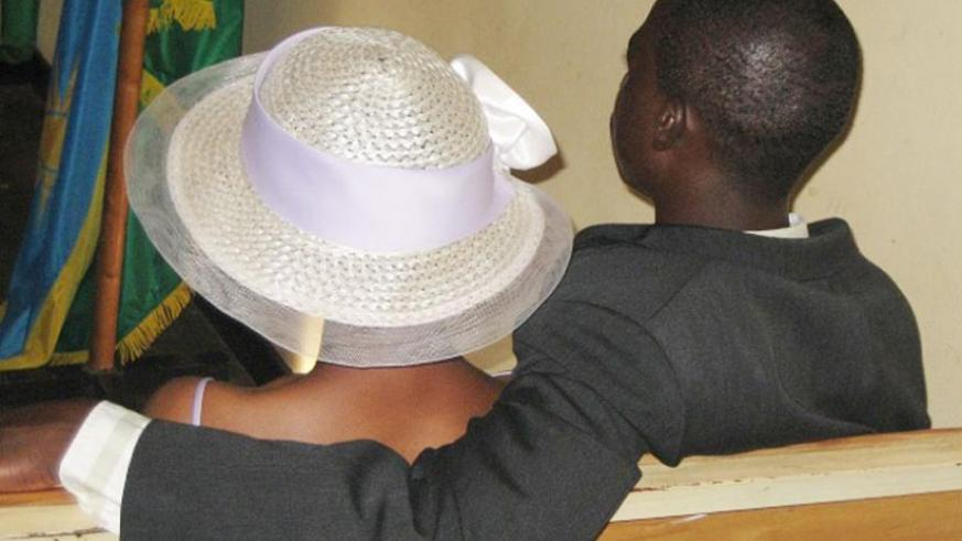 A couple attends its civil marriage at Umurenge. (File)