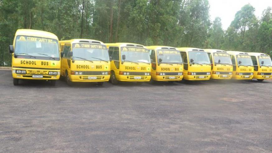 School buses ready to start work. Many parents have welcomed the initiative. (Jean Mugabo)