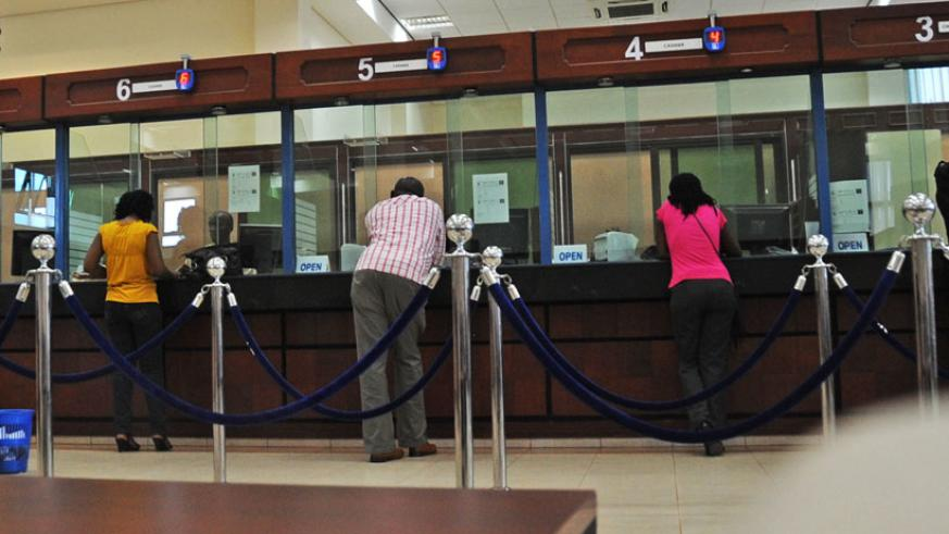 Customers seek financial services from a bank in Kigali. (File)