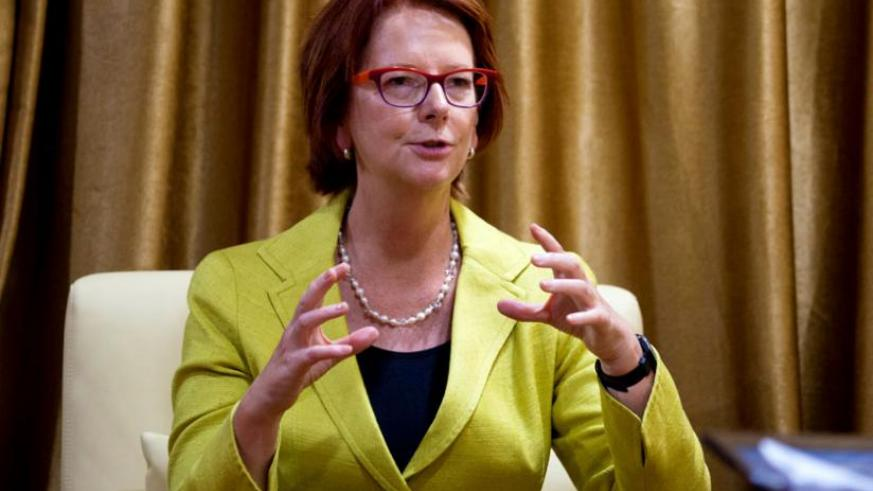Former Australian Prime Minister Julia Gillard during an interview in Kigali. Gillard, currently the chairperson of a Global Partnership for Education, is in the country to attend a two-day Unesco-Africa regional conference. (Timothy Kisambira)