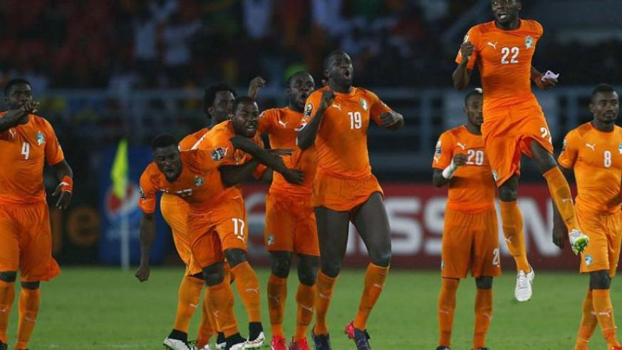 The Ivory Coast team celebrate landing the Africa Cup of Nations on penalties, their first AFCON title since 1992. (Net photo)